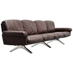 De Sede DS31/4 Lounge Sofa in Brown Leather, Switzerland, 1970