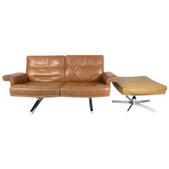 De Sede DS35 Two-Seat Sofa with Ottoman, Switzerland 1967, Vintage Brown Leather
