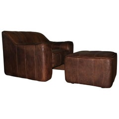 De Sede DS44 Leather Armchair and Ottoman