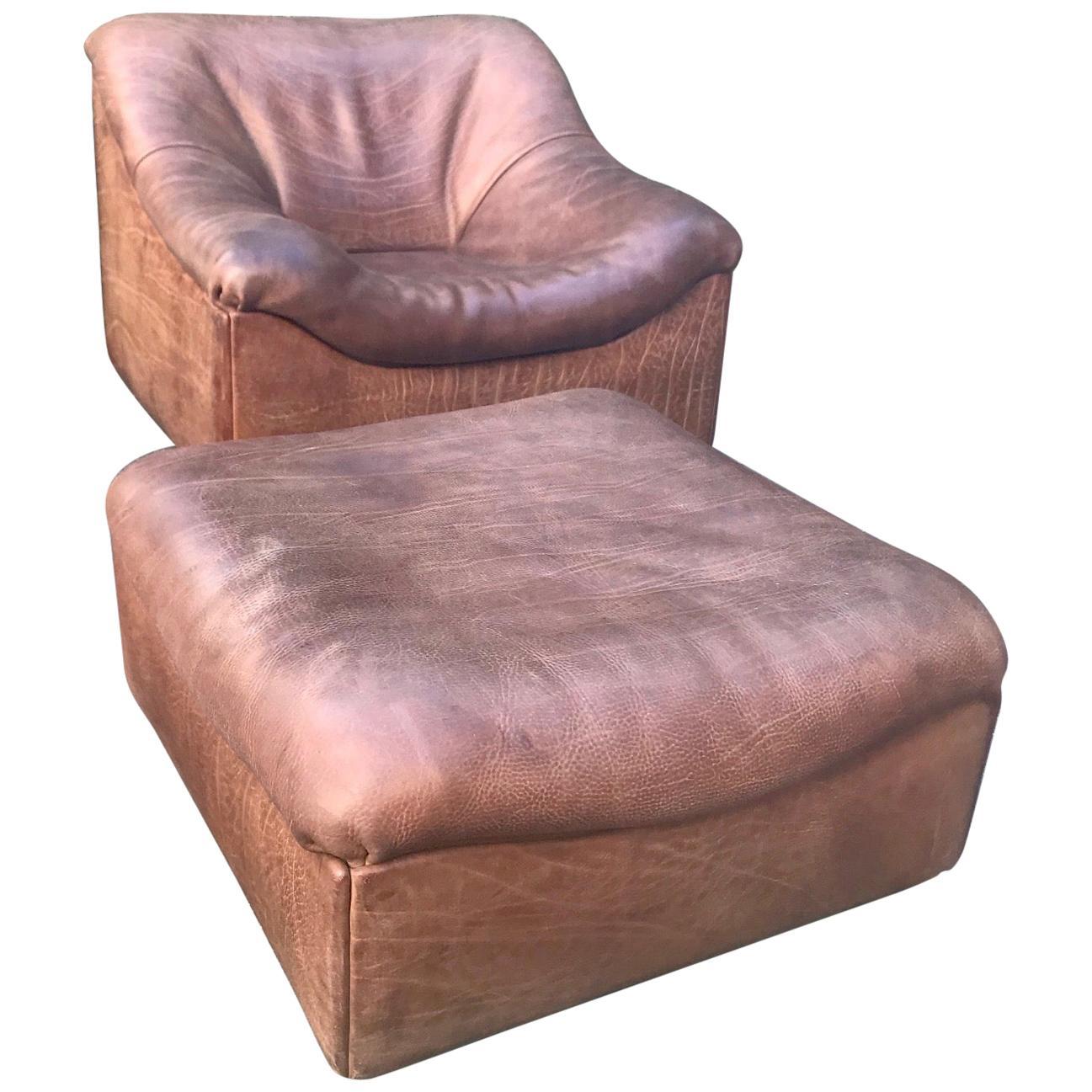 De Sede DS46, Armchair with Ottoman, Cognac Buffalo Leather