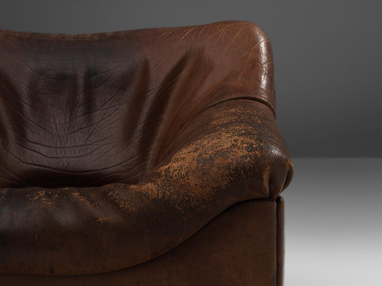Mid-Century Modern De Sede DS46 Lounge Chair in Brown Leather For Sale