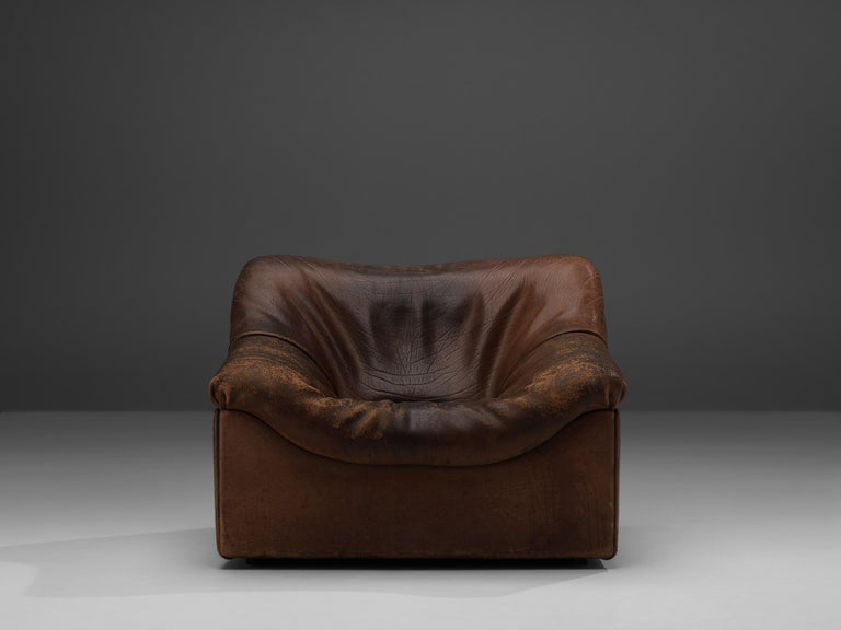 Swiss De Sede DS46 Lounge Chair in Brown Leather For Sale