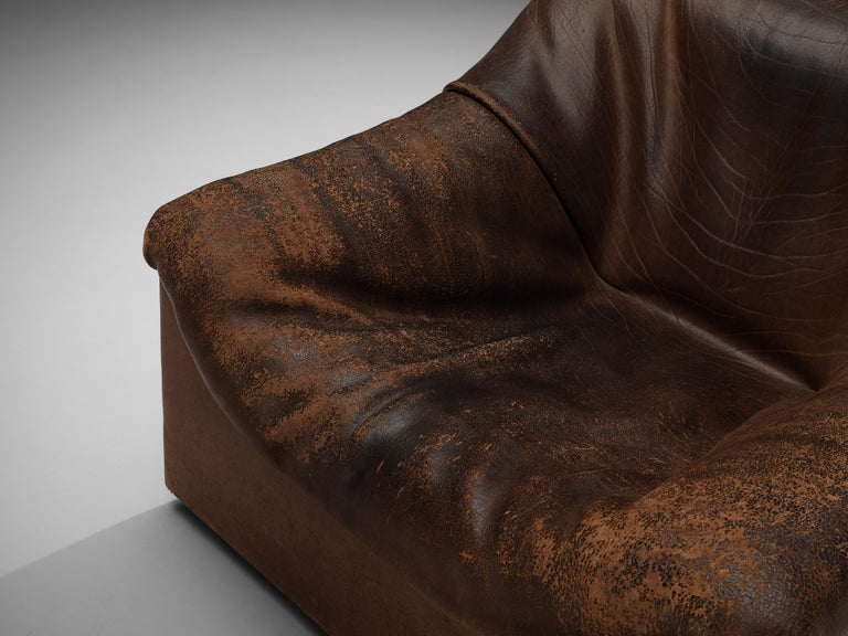 De Sede DS46 Lounge Chair in Brown Leather In Good Condition For Sale In Waalwijk, NL