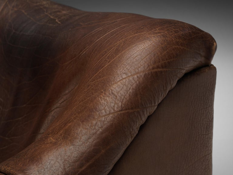 De Sede DS46 Lounge Chair in Brown Leather For Sale 1