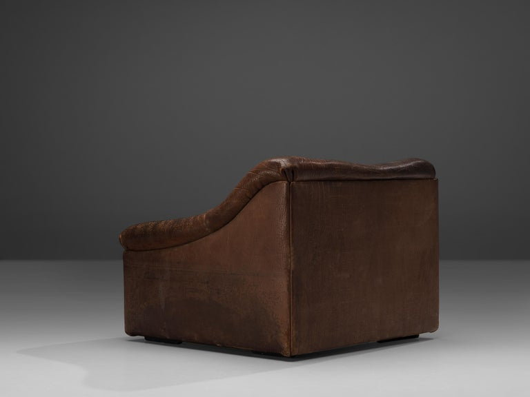 De Sede DS46 Lounge Chair in Brown Leather For Sale 2