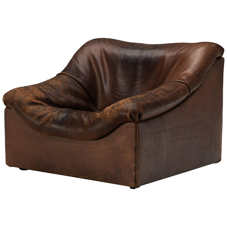 De Sede DS46 Lounge Chair in Brown Leather For Sale