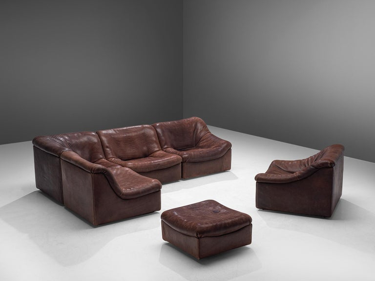 De Sede, DS46 sectional sofa with ottoman, brown buffalo leather, Switzerland, 1970s.