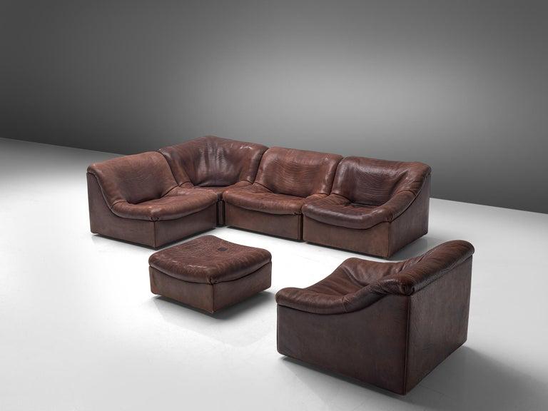 Mid-Century Modern De Sede DS46 Modular Sofa in Brown Leather