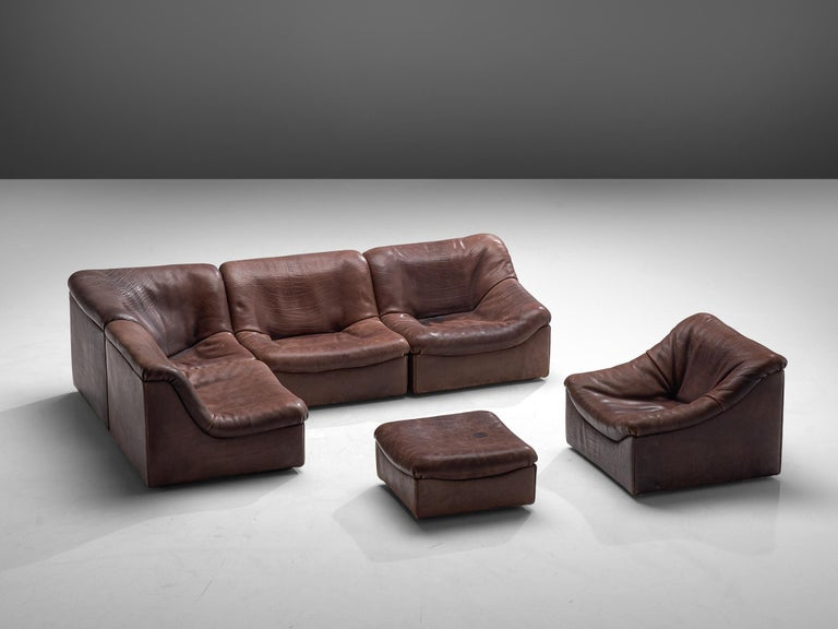Swiss De Sede DS46 Modular Sofa in Brown Leather