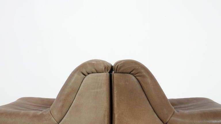 De Sede DS46 Sectional Sofa in Cognac Buffalo Leather 4