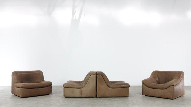 Swiss De Sede DS46 Sectional Sofa in Cognac Buffalo Leather
