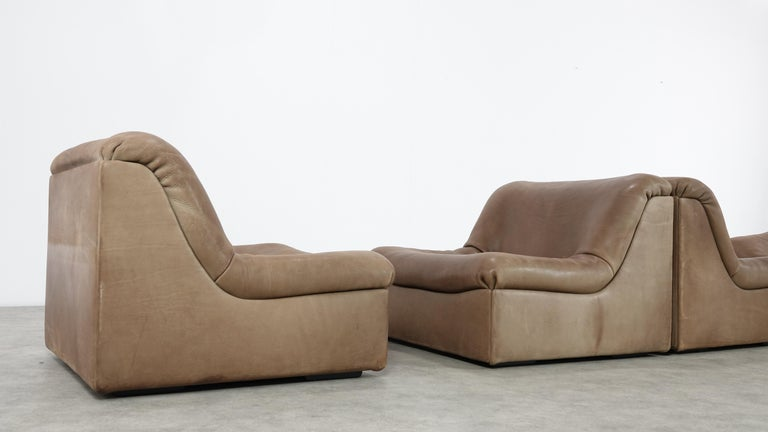 Late 20th Century De Sede DS46 Sectional Sofa in Cognac Buffalo Leather