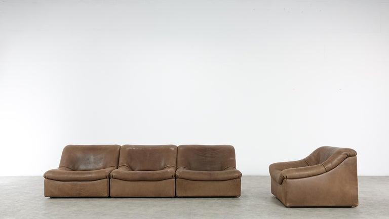 De Sede DS46 Sectional Sofa in Cognac Buffalo Leather 1