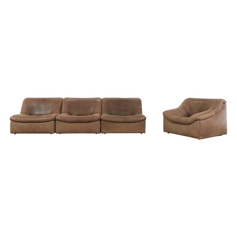 De Sede DS46 Sectional Sofa in Cognac Buffalo Leather