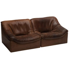 De Sede DS46 Sectional Sofa or Lounge Chairs in Brown Leather
