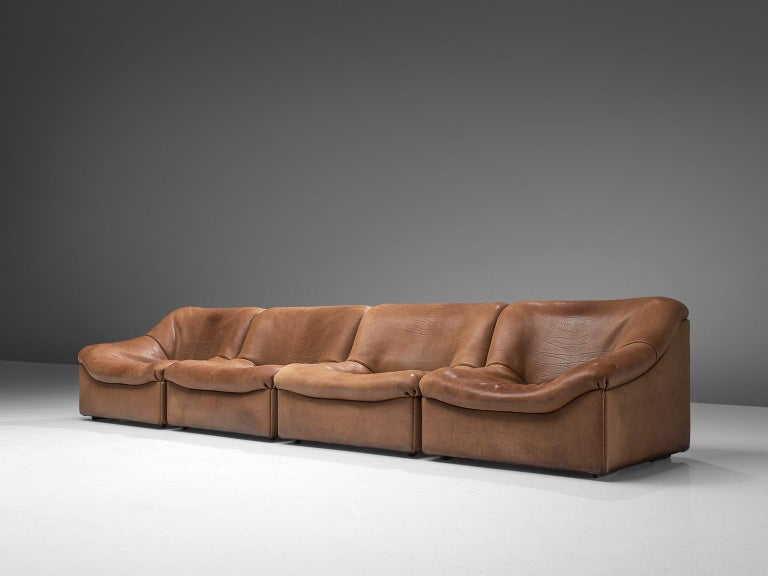 Mid-Century Modern De Sede DS46 Sectional Sofa with Ottoman in Cognac Buffalo Leather For Sale