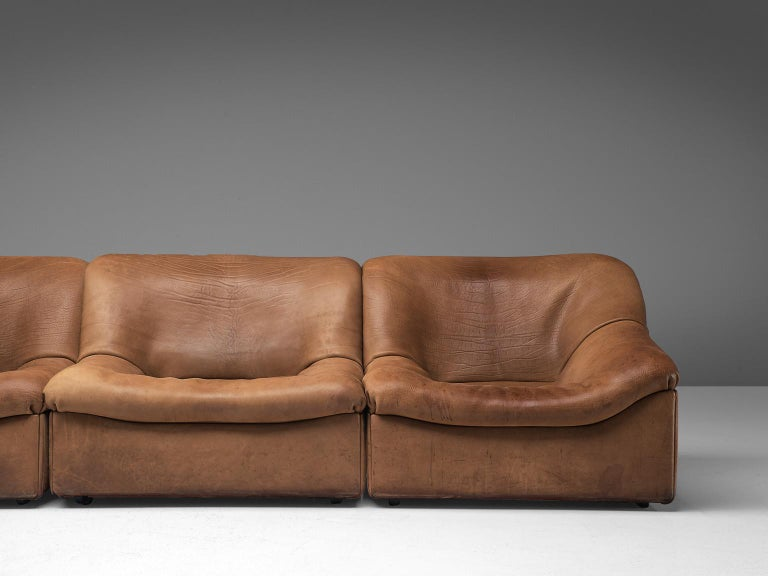 Swiss De Sede DS46 Sectional Sofa with Ottoman in Cognac Buffalo Leather For Sale