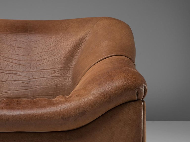 Late 20th Century De Sede DS46 Sectional Sofa with Ottoman in Cognac Buffalo Leather For Sale