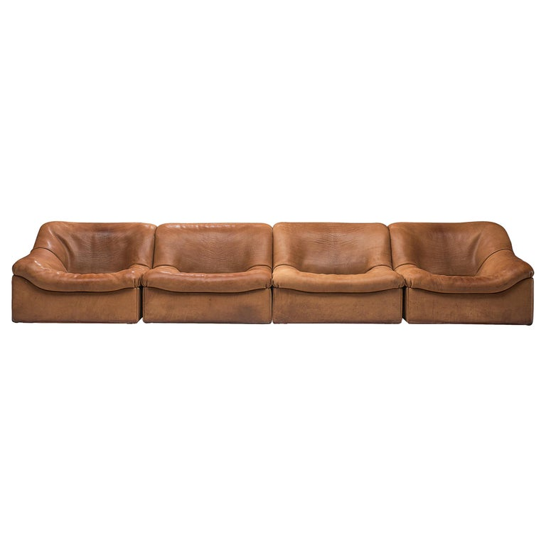 De Sede DS46 Sectional Sofa with Ottoman in Cognac Buffalo Leather For Sale