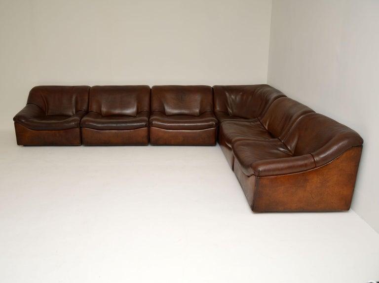 Mid-Century Modern De Sede DS46 Vintage Leather Sectional Corner Sofa For Sale