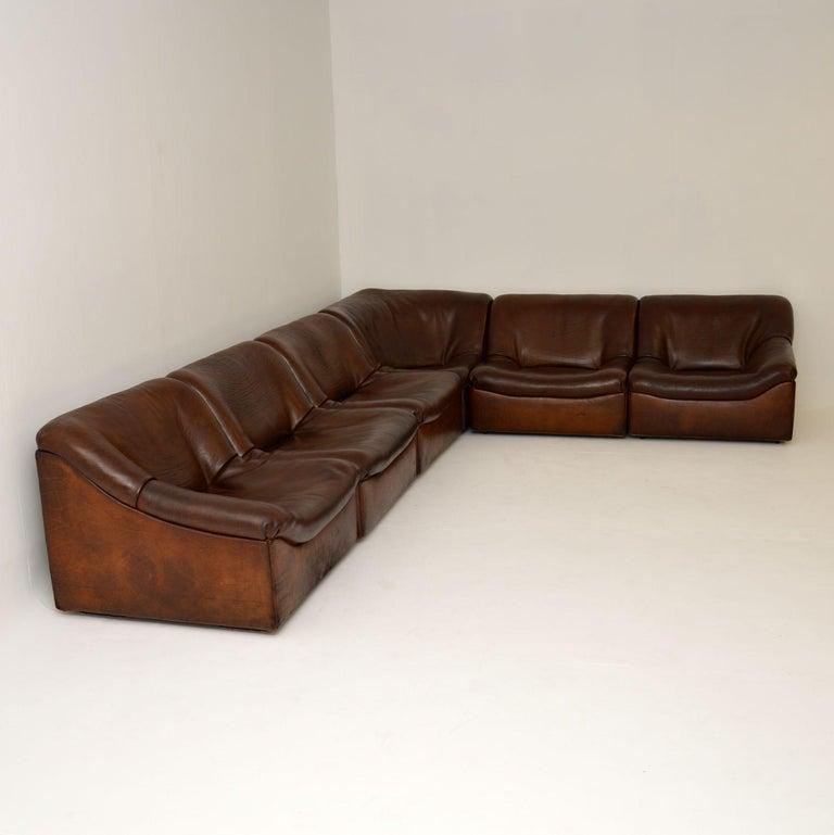Swiss De Sede DS46 Vintage Leather Sectional Corner Sofa For Sale