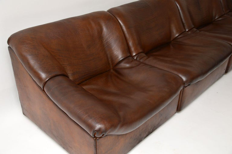 De Sede DS46 Vintage Leather Sectional Corner Sofa In Good Condition For Sale In London, GB