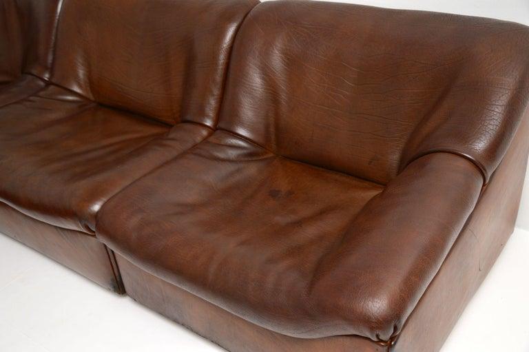 De Sede DS46 Vintage Leather Sectional Corner Sofa For Sale 3