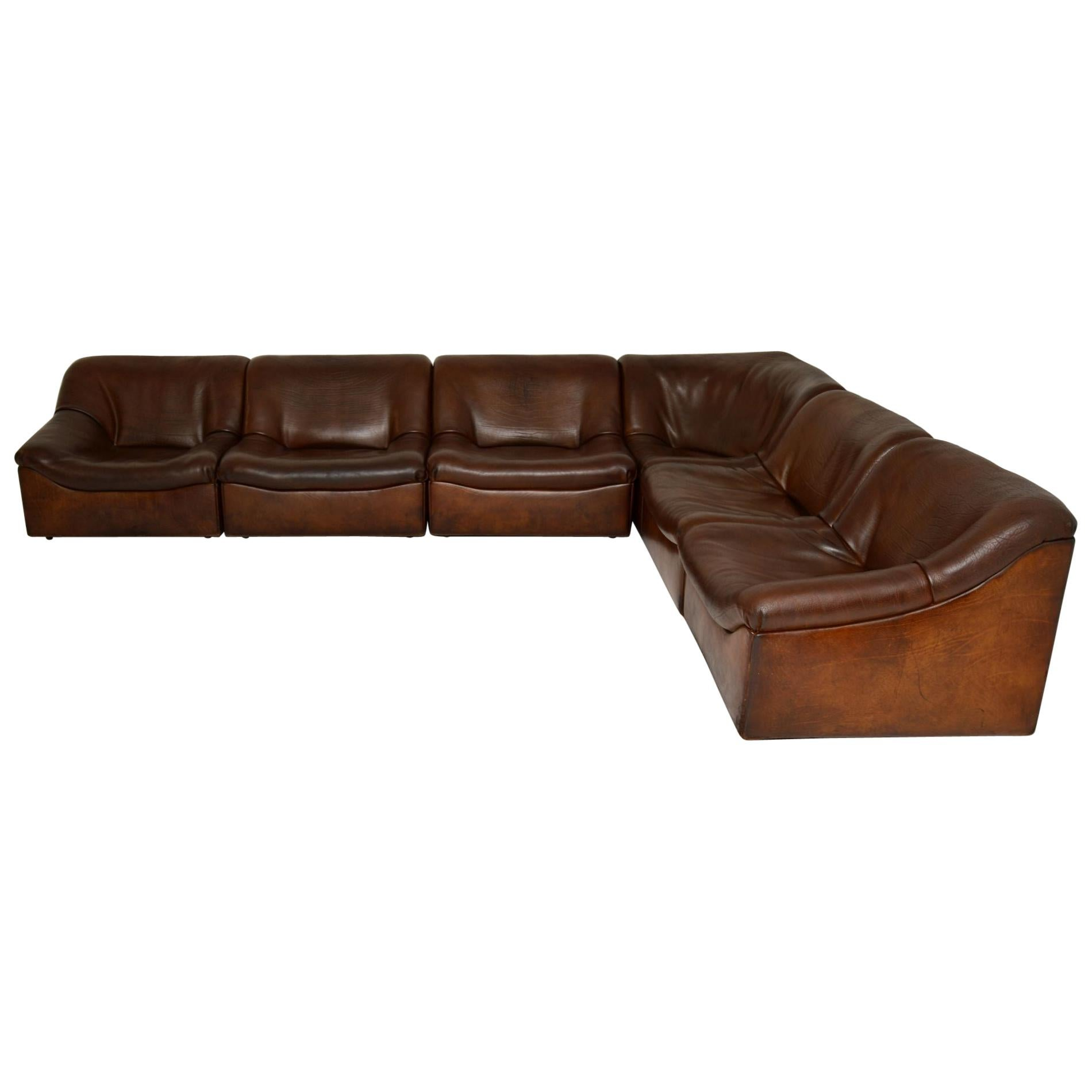 De Sede DS46 Vintage Leather Sectional Corner Sofa