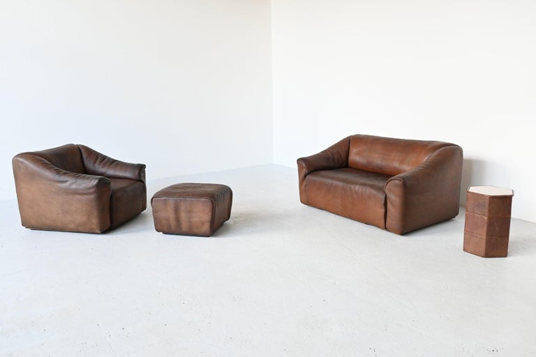 De Sede DS47 Armchair with Ottoman Brown Buffalo Leather, Switzerland, 1970 For Sale 7