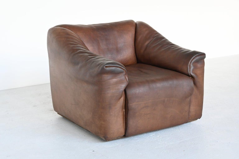 Swiss De Sede DS47 Armchair with Ottoman Brown Buffalo Leather, Switzerland, 1970 For Sale