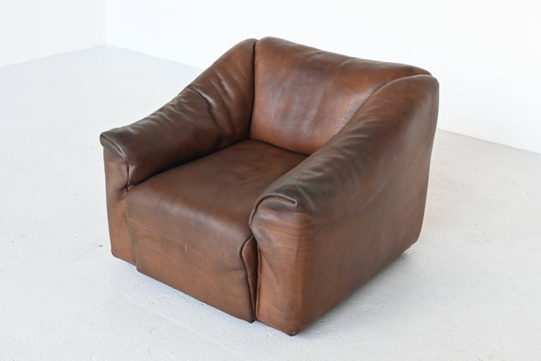 De Sede DS47 Armchair with Ottoman Brown Buffalo Leather, Switzerland, 1970 In Good Condition For Sale In Etten-Leur, NL