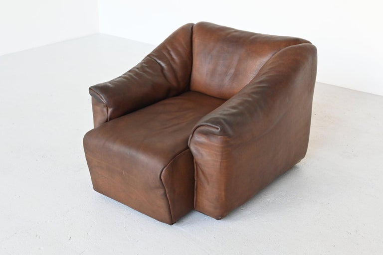 Late 20th Century De Sede DS47 Armchair with Ottoman Brown Buffalo Leather, Switzerland, 1970 For Sale
