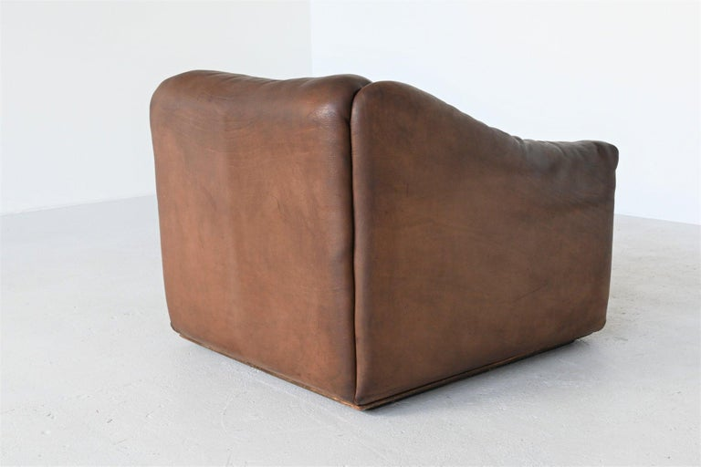De Sede DS47 Armchair with Ottoman Brown Buffalo Leather, Switzerland, 1970 For Sale 1