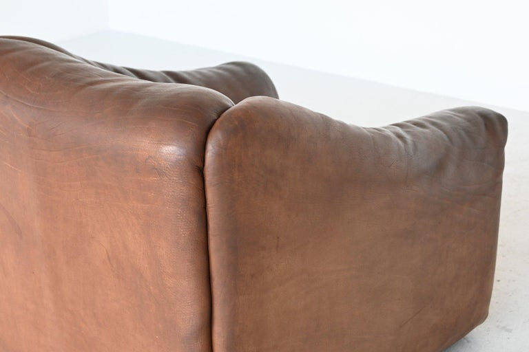 De Sede DS47 Armchair with Ottoman Brown Buffalo Leather, Switzerland, 1970 For Sale 2