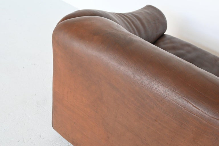 De Sede DS47 Two-Seat Sofa Brown Buffalo Leather, Switzerland, 1970 For Sale 4
