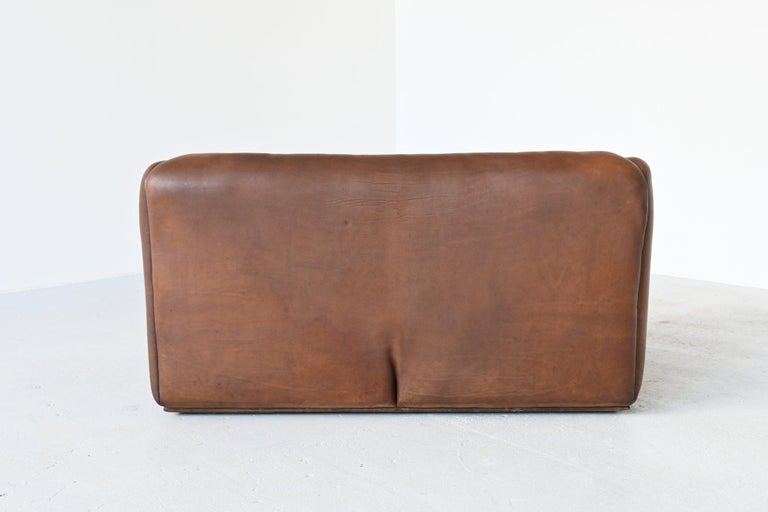 Mid-Century Modern De Sede DS47 Two-Seat Sofa Brown Buffalo Leather, Switzerland, 1970 For Sale