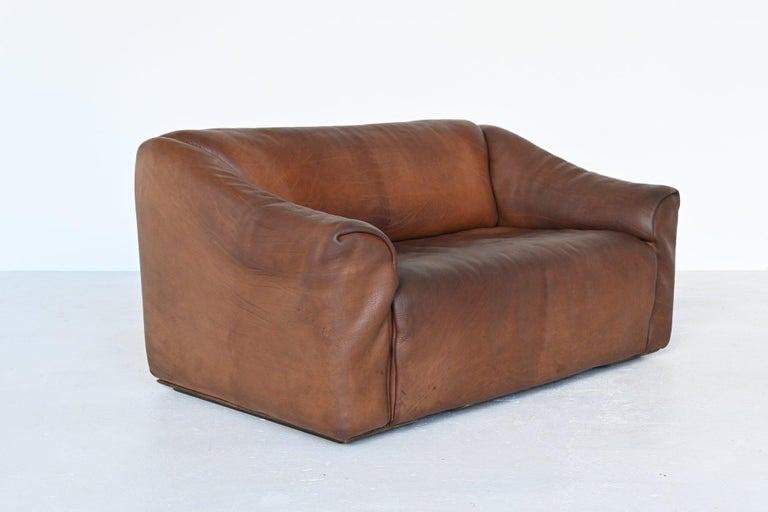 Swiss De Sede DS47 Two-Seat Sofa Brown Buffalo Leather, Switzerland, 1970 For Sale