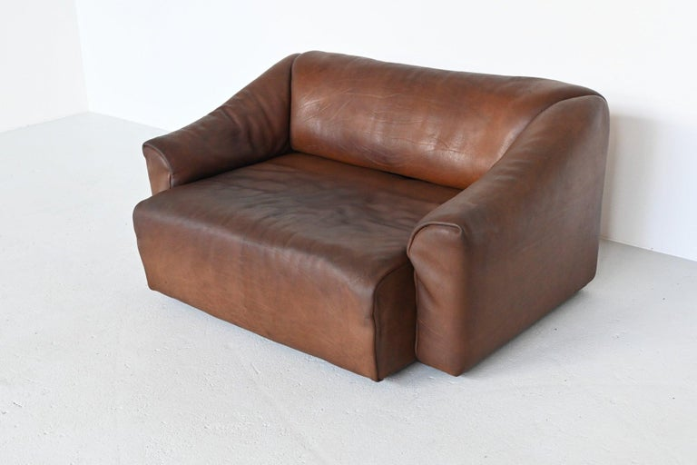 De Sede DS47 Two-Seat Sofa Brown Buffalo Leather, Switzerland, 1970 For Sale 1