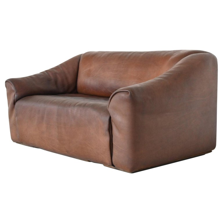 De Sede DS47 Two-Seat Sofa Brown Buffalo Leather, Switzerland, 1970 For Sale