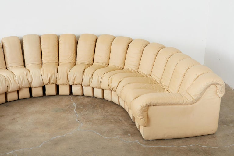 Hand-Crafted De Sede DS600 24 Piece Non-Stop Leather Sectional Snake Sofa For Sale