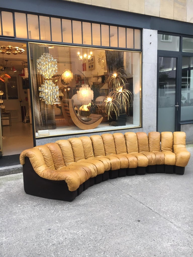 De Sede DS600 Cognac Leather Non Stop Sofa For Sale 7