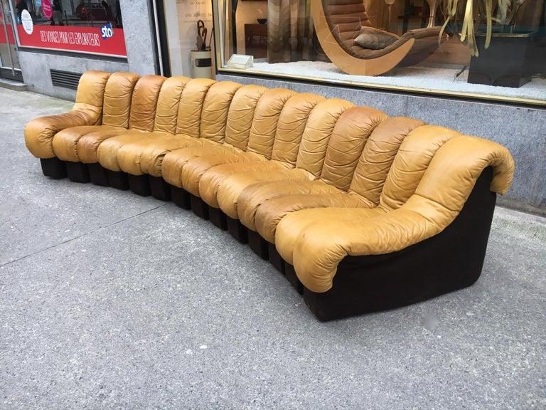 Swiss De Sede DS600 Cognac Leather Non Stop Sofa For Sale