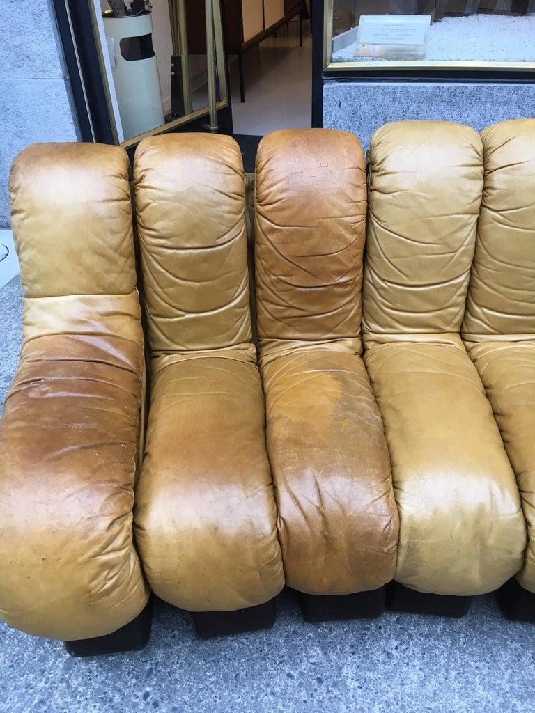 Late 20th Century De Sede DS600 Cognac Leather Non Stop Sofa For Sale