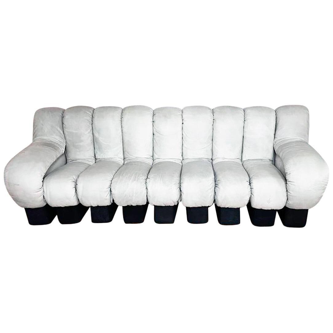 De Sede DS600 Non-Stop Modular Sectional Snake Sofa, Light Grey Leather, 1970s