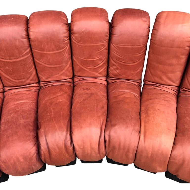 De Sede DS600 Non Stop Sofa in Rich Brown Leather, 22 Elements For Sale 2