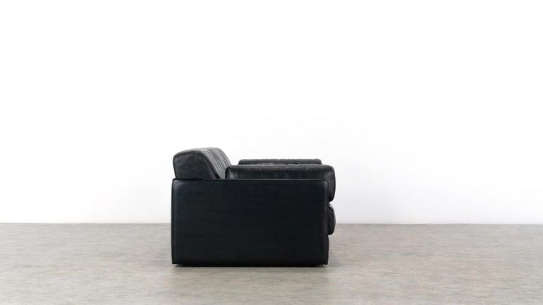 De Sede Ds76, Sofa & Daybed in Black Leather, 1972 by De Sede Design Team 4