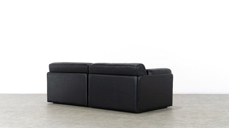 De Sede Ds76, Sofa & Daybed in Black Leather, 1972 by De Sede Design Team 5