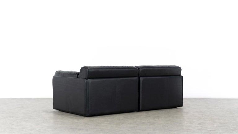 De Sede Ds76, Sofa & Daybed in Black Leather, 1972 by De Sede Design Team 6