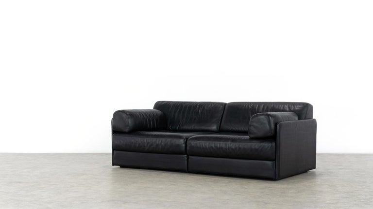 De Sede Ds76, Sofa & Daybed in Black Leather, 1972 by De Sede Design Team 7