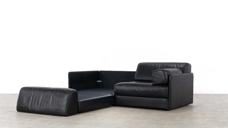 De Sede Ds76, Sofa & Daybed in Black Leather, 1972 by De Sede Design Team 8